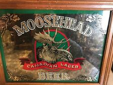 "Vintage Moosehead Canadian Lager Beer Bar Mirror Sign ~ 19""X 15"""