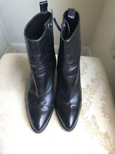 New Zara Leather Black Boots Size EU 38 US 8