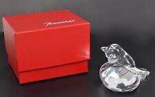 BACCARAT FRANCE CLEAR CRYSTAL CAT WITH BOX; SIGNED, ORIGINAL STICKER; VG COND