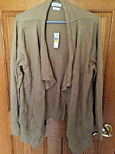 Womens Van Heusen Beige Cardigan Sweater- Sz XXL NWT Ruffle NEW Retail $86 bx23
