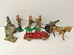 Lot of 8 Antique Beton Toys Army Soldiers Fire Truck & Brass Horses