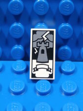 LEGO TAROT CARD TILE ~ Minifigure White 1x2 Castle Tower Pattern Tile  * NEW *