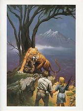 "1990 Vintage KEN KELLY ""HUNTERS"" vs SABRE TOOTH TIGER COLOR Art Plate Lithograph"