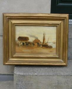 19th Century French Brittany Beach view with fishermen + Authentic frame.