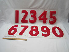 vintage retro industrial American red gas station sign signage numbers 0 to 9 .