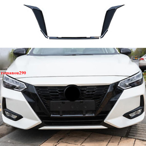 For Nissan Sentra 2020-2021 ABS Glossy Black Front grill Frame Cover Trim 3pcs