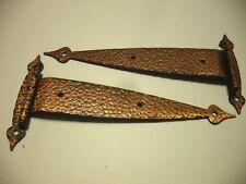 """Vtg T-STRAP Cabinet HINGES Antique Copper Plated Steel 3/8"""" Offset Doors Amerock"""