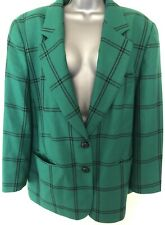 Vintage 80s Pierre Cardin New Wool Green & Black Check Blazer Size GB22 On Trend