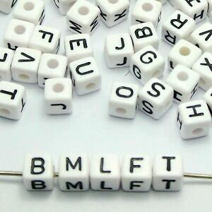 100 White with Black Assorted Alphabet Letter Cube Pony Beads 9X9mm