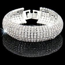 Diamante Rhinestone Bridal Bracelet 7 Rows Silver Crystal Wedding Adjustable S-L