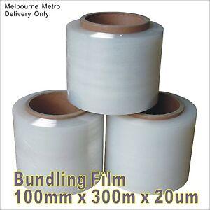 "Clear Bundling Film 100mm x 300m x 20um Stretch Wrap Bundle 3"" Mini Wrap Film"