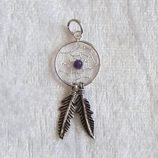 Sterling Silver Dreamcatcher Amethyst Charm/Pendant 30mm 925