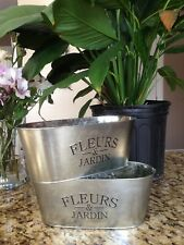 New Galvanized Tin Flowers & Garden Planter Flower Pot Set of 2