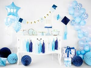 Baby shower Boy Blue Plates Cups Balloons, Birthday Party Tableware Party