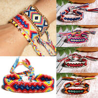 Bohemian Braided Woven Rainbow Friendship Bracelets Multi Color String Cord