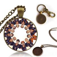 Haikyuu!! Hinata Shoyo kageyama tobio Antique Bronze Pendant Keychain Necklace
