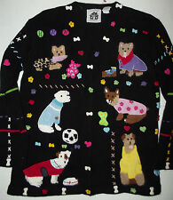 Storybook Knits Whimsical Dog Lovers Knit Cardigan Size Med