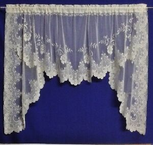 Ivory Floriade Lace Window Swag or Tier Pair Livingroom Bedroom Kitchen