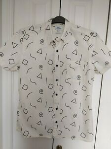 Men's Short Sleeved Cream With Black Geometric Design Size L From Next