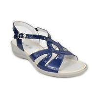 Sandalo donna Enval Soft Zeppa bassa comoda blu lucido pelle fibbia 36 40 -79703