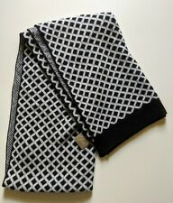 J. Crew Cashmere Women's Checkered Black and White Scarf / Shoulder Wrap 80 x 20