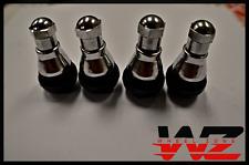 Set of 4 New Black Rubber Wheel Tire Valve Stems Complete w/ Chrome Caps! TR412