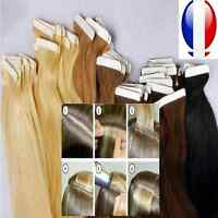 EXTENSION TAPE BANDE ADHESIVE CHEVEUX 100% NATURELS INDIAN REMY HAIR 49, 60 CM