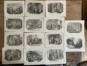 14 x Antique etchings dated 803 Famous historic scenes