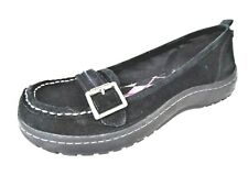 RocketDog Woman's Size 8 Black Suede Leather Casual Slip On Buckle Loafer Shoe