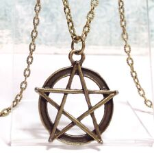 """PENTAGRAM_Bronze Pendant on 20"""" Chain Necklace_Pentacle Wiccan Pagan Witch Star"""
