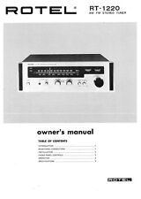 Rotel RT-1220 Tuner Owners Instruction Manual