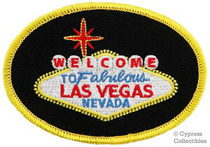WELCOME TO FABULOUS LAS VEGAS SIGN - EMBROIDERED IRON-ON PATCH NEVADA CASINO new