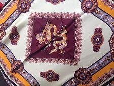 Dragon Print women's 100% Silk Scarf, 90 cm X 90 cm, Brown Theme