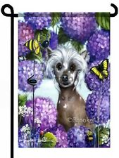 Chinese Crested in hydrangeas painting GARDEN FLAG hairless Dog ART print