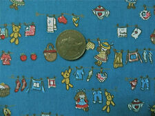 BLUE WITH TINY TEDDIES & DOLLS ON WASHING LINES- CHILDRENS COTTON FABRIC F.Q.'S