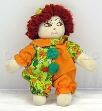 """Vintage Stuffed Plush Sock Clown Red Hair Floral Suit Doll w/ Hat Cap - 13"""" Tall"""