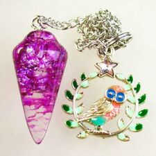 Purple Rock Crystal Pendulum & Tibetan Silver Owl Pendant Bead S68722