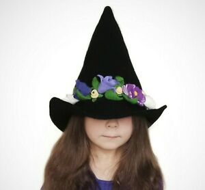 Pointy short witch hat with wide brim and purple flowers