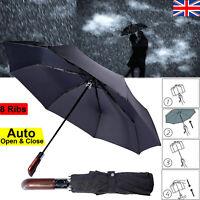 Strong Windproof Umbrella Auto Open & Close Compact Folding, Black For Men Women