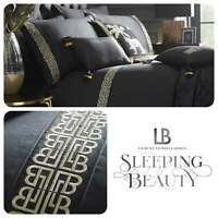 Laurence Llewelyn-Bowen MONOGLAM Black & Gold Embroidered Pleat Duvet Cover Set