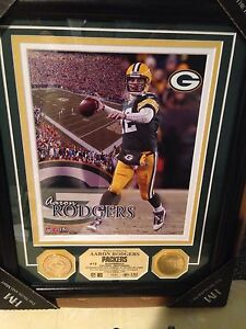 Aaron Rodgers #12 Authentic 2 Gold Medallions Highland Mint Packers #31/1000