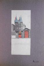 """Dessin Ancien Encre Aquarelle  Crayon PIERRE SUBTIL """" Paris IV PS159"""