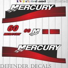 Mercury 60 HP Two Stroke outboard engine decal sticker RED kit reproduction 60HP