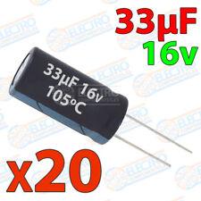 20x Condensador 33uF 16v electrolitico 105ºC 20% 4x8 PCB PIC Arduino