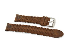 20MM LONG BROWN TIMBERLAND PADDED SOFT GENUINE LEATHER WATCH BAND STRAP