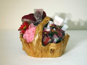 Christmas Gift Natural handmade wood root Carved artistic Small fruit basket..