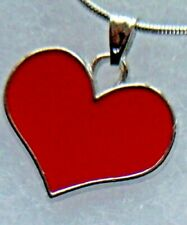 "RED Heart pendant  silver plate necklace  ""573""  UK  love heart !! Mothers Day"
