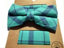 MENS BOW TIE STRIPED BLUE AND GREEN HANDKERCHIEF PRE-TIED BOW ADJUSTABLE CLIP