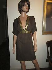 Hermanny Vix M Swimsuit Coverup Dress Cover Up Brown Gold Embellished NWT!