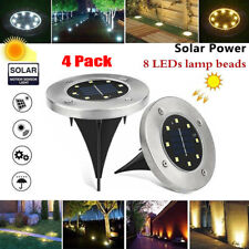 4 Pack 8 LED Solar Ground Waterproof Light Outdoor Garden Pathway In-Ground Lamp